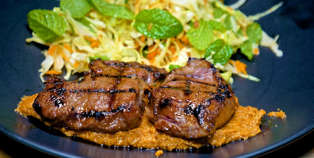Mar 29: Skirt Steak Sandwich, Potato Sandwich; Top Sirloin with Satay Sauce and Vietnamese Salad