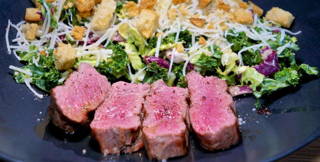 Apr 6: Smoked Salmon Tortilla Wrap; NY Strip Steak with Kale Salad