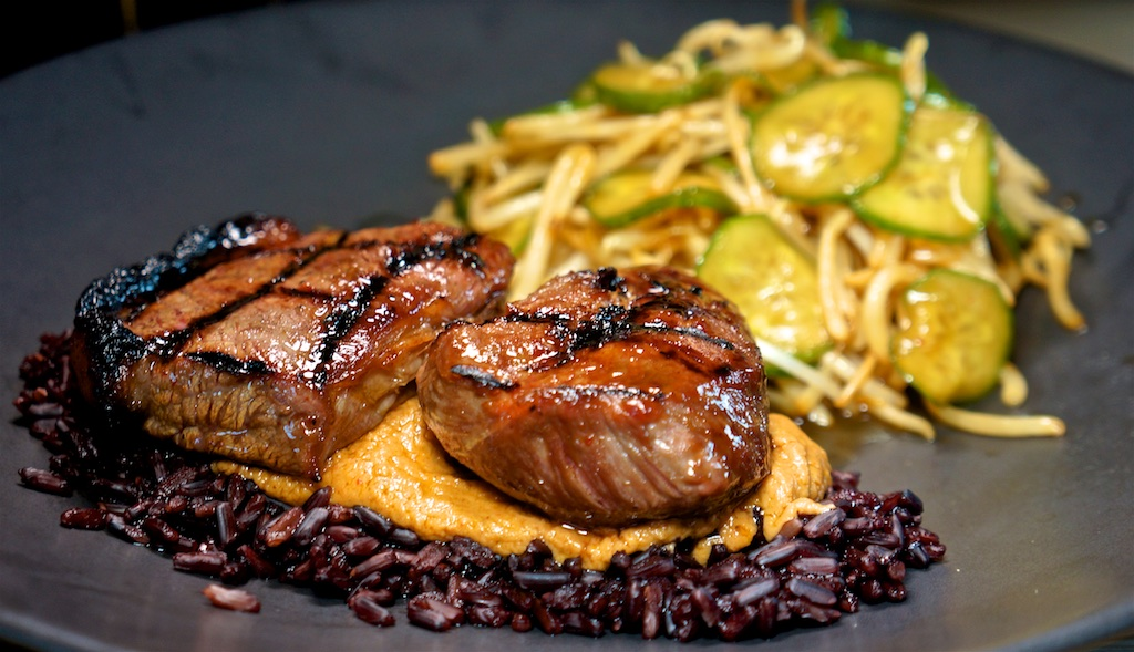 Apr 14: Moon Touched Tomatoes with Swiss; Beef Top Sirloin with Peanut Sauce, Black Rice and Bean Sprout Salad