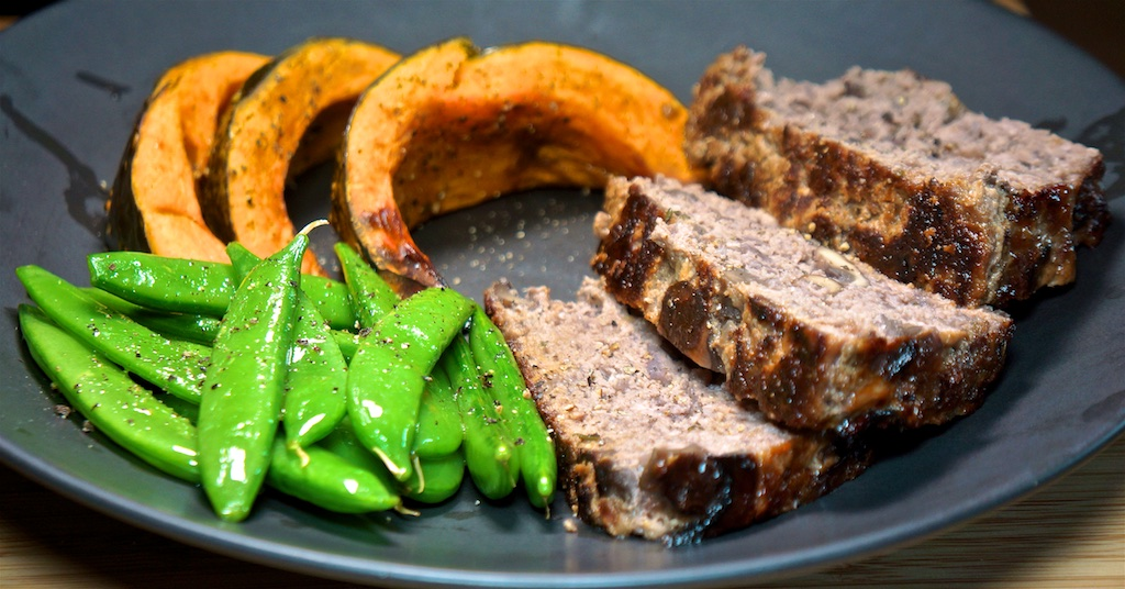 Apr 15: Baked Eggs; Red Wine and Mushroom Meatloaf with Roast Kabocha Squash and Sugar Snap Peas