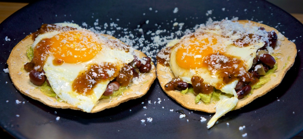 Apr 20: Afghani Pita Pockets; Tostadas with Avocado, Cuban Black Beans, Fried Egg and Salsa