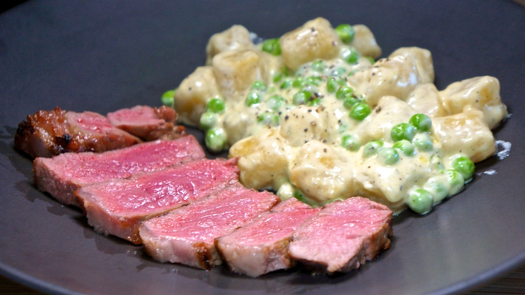 May 20: Scrambled Eggs & Baked Beans on Toast; NY Strip Steak with Cauliflower Gnocchi in a Blue Cheese Sauce