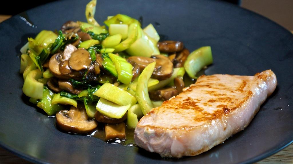 May 22: Avocado & Sardines; Pork Chops with Bok Choy in Mushroom Sauce