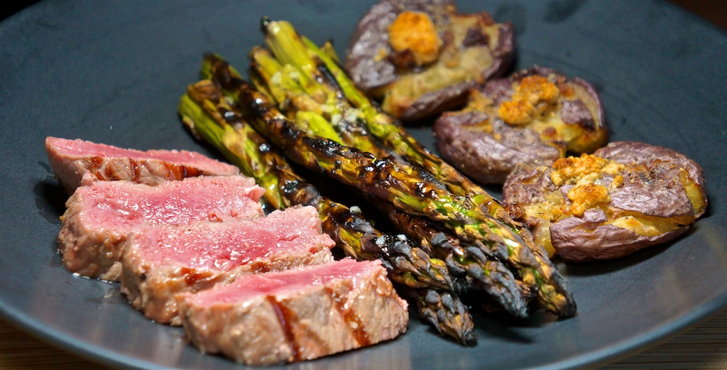 May 24: Chicken Breast, Moon Touched Tomato, Swiss; NY Strip Steak with Crash Hot Potatoes and Grilled Asparagus