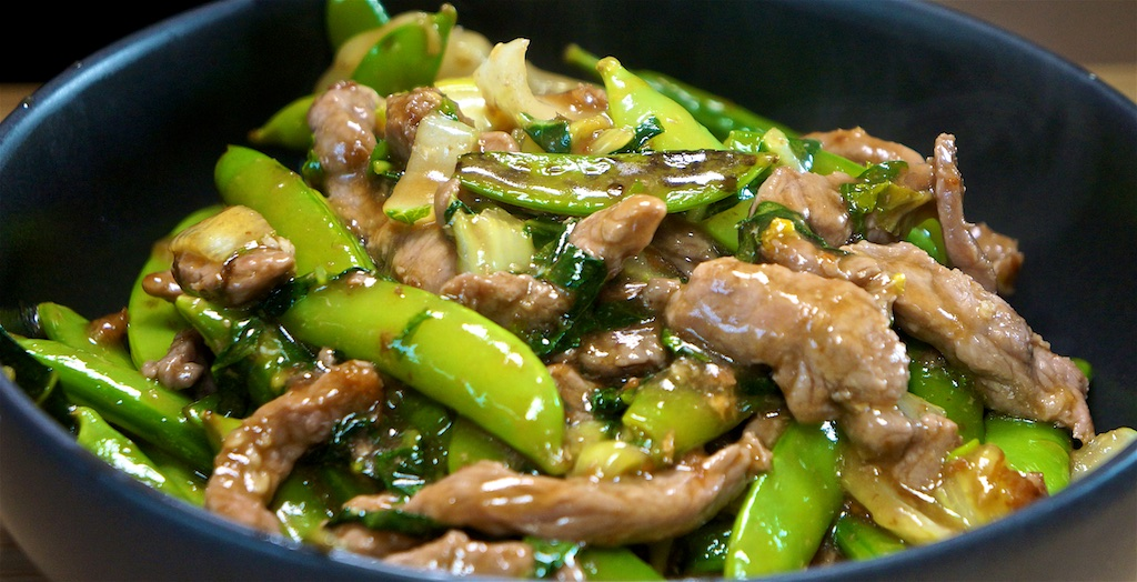 May 29:  Baked Beans & Swiss with Garlic Spread; Stir Fry Beef with Snap Peas and Oyster Sauce