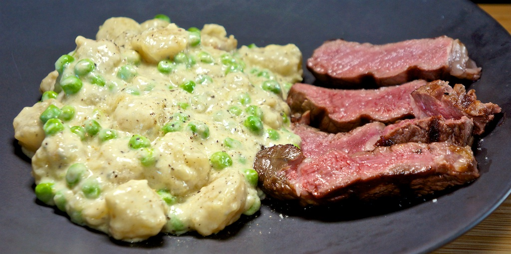 Jun 14: Avocado & Smoked Trout; Rib Eye with Cauliflower Gnocchi in Blue Cheese Sauce