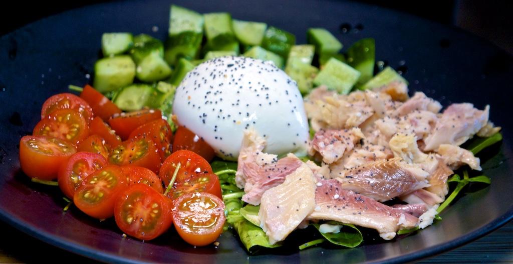 Jun 26: Chili & Swiss Toasted Sandwich; Smoked Trout, Burrata, Cucumber, Tomato and Watercress