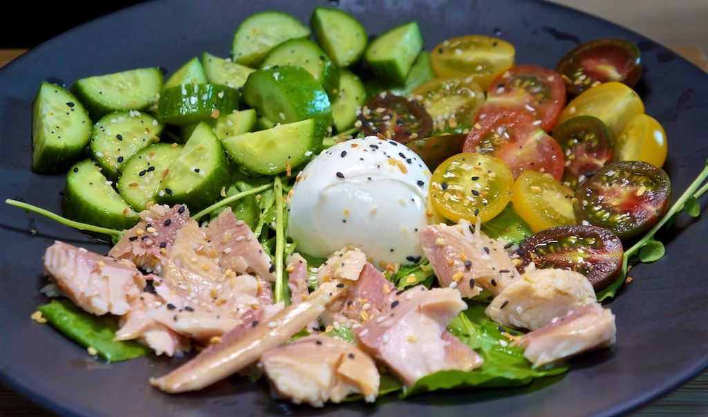 Jul 10: Pastrami, Tabouli & Swiss, Tomato & Mayo; Burrata and Smoked Trout Salad