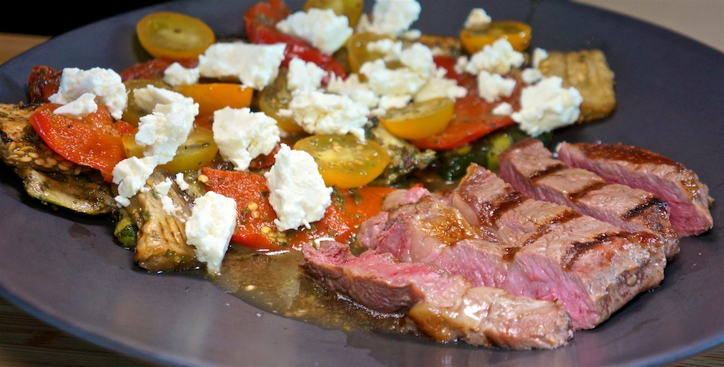 Jul 19: Popeye's Chicken & Salad; Rib Eye with Balsamic Grilled Vegetables