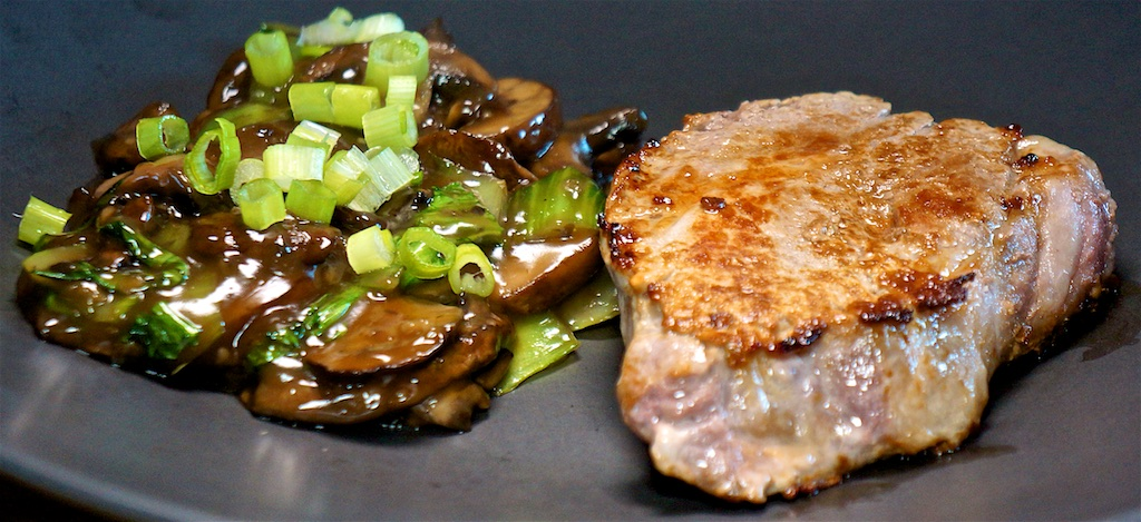 Jul 21: Bahn Mi; Pork Chop with Stir Fry Mushroom and Bok Choy