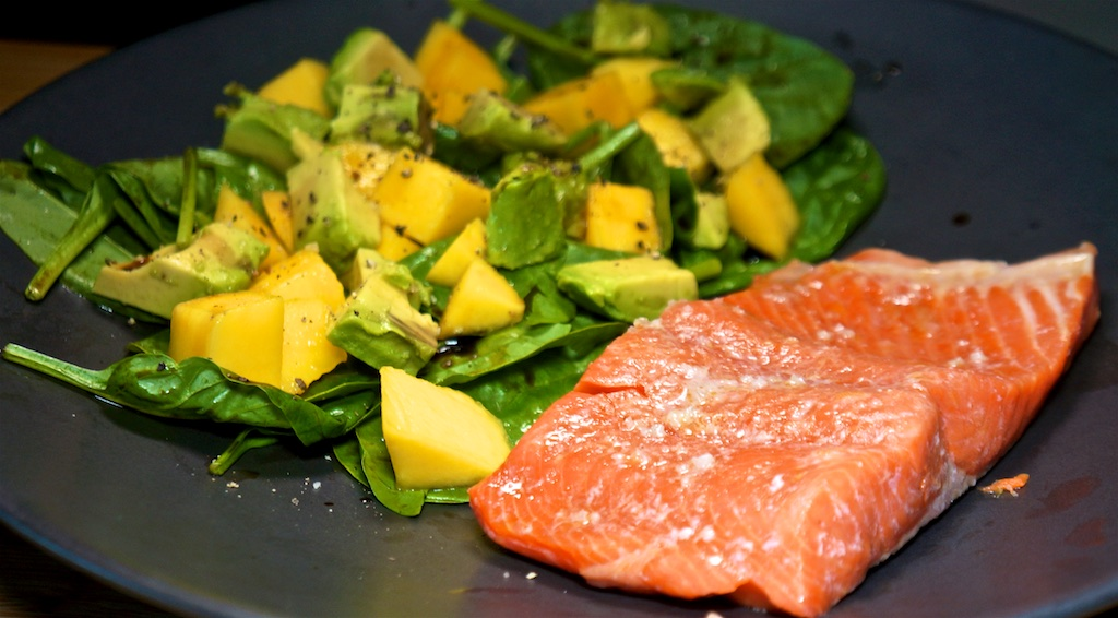Jul 24: Kumato, Mayo and Swiss; Sous Vide Salmon with Mango, Avocado and Spinach Salad