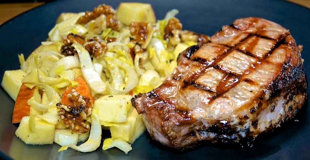 Aug 16: Tuna & Swiss; Corned Beef, Sauerkraut & Swiss; Thick Cut Pork Chop with Apple Endive Salad