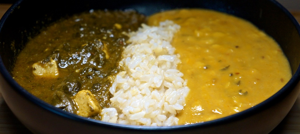 Jul 30: In and Out Burger; Yellow Tadka Dal and Paleek Paneer with Brown Rice