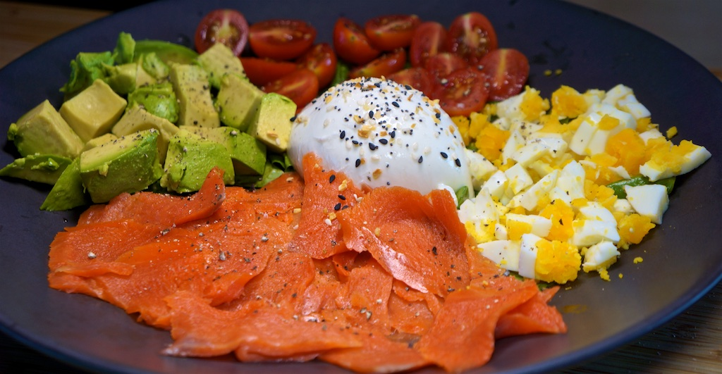 "Aug 3: Kumato & Swiss, Sweet & Spicy Tuna & Swiss; Smoked Salmon ""Cobb"" Salad"