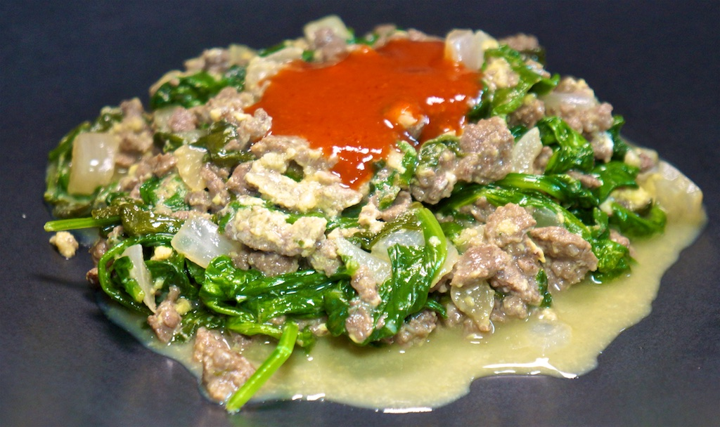 Aug 4: Bahn Mi; Ground Beef with Garlic, Spinach and Eggs