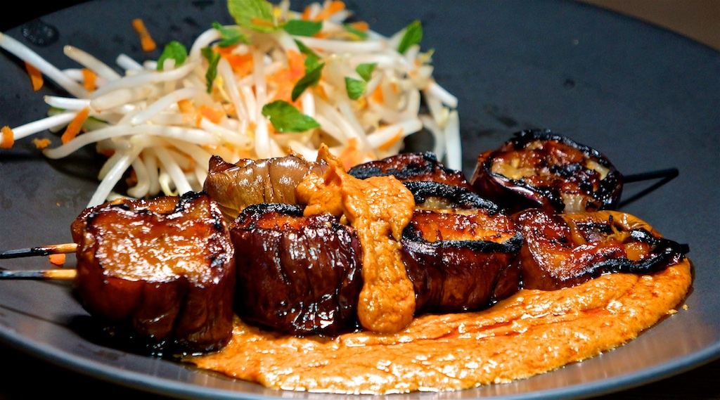 Aug 9: Breakfast; Grilled Japanese Eggplant with Satay Sauce and Bean Sprout Salad