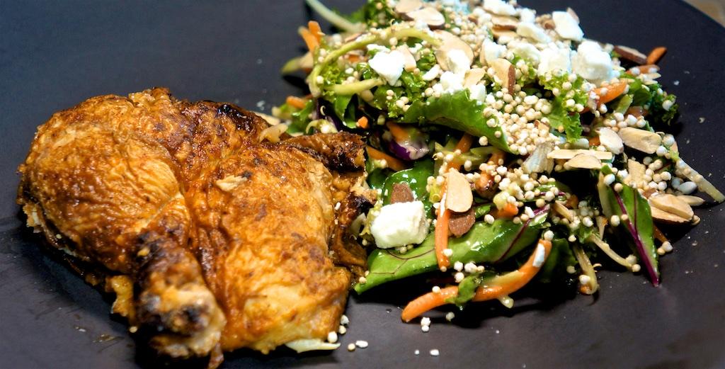 Aug 14: Corned Beef, Tabouli & Swiss, Corned Beef, Spicy Labné & Sauerkraut; Roast Chicken Leg with Strawberry Harvest Salad