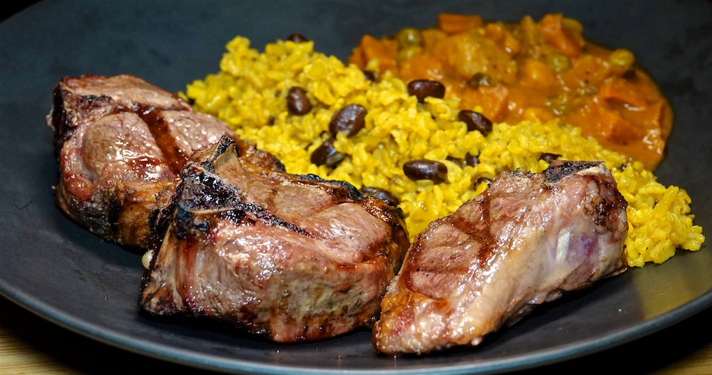 Oct 4: Heirloom Tomato and Swiss; Lamb Loin Chops with Bean Pilaf and Tikka Vegetables