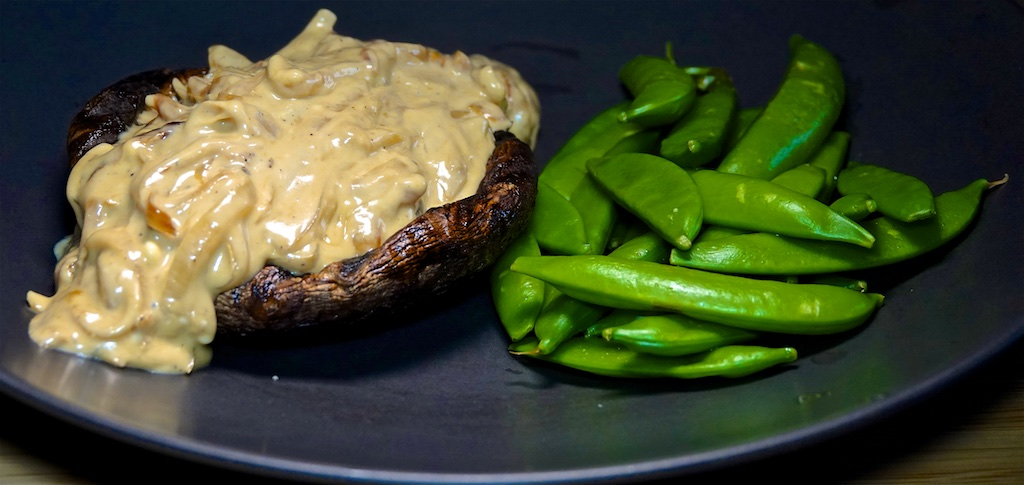 Oct 8: Smoked Trout & Avocado; Grilled Mushroom with Onion Blue Cheese Sauce and Sugar Snap Peas