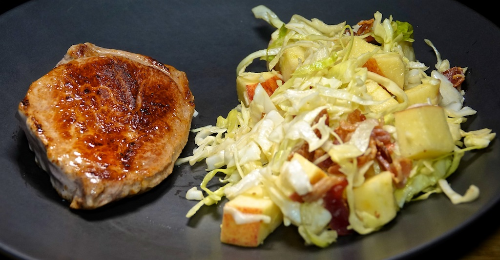 Oct 13: Panini Rustic Rolls with Egg Salad & Sprouts; Pan Fried Pork Chops with Apple Bacon Slaw
