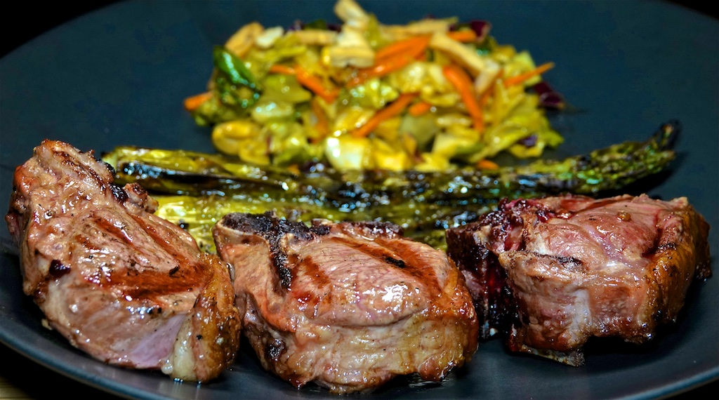 Nov 1: Sweet & Spicy Tuna with Swiss & Capers; Lamb Loin Chop with Grilled Asparagus and Yellow Curry Chopped Salad