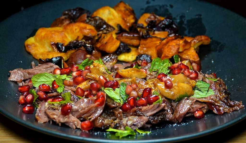 Nov 11: 'Reuben,' Tuna & Swiss; Shredded Lamb Shank, Mint and Pomegranate with Sweet Potato Halloumi Bake