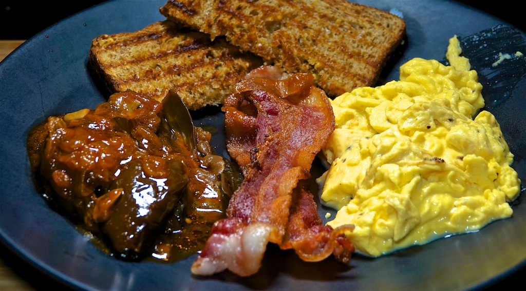 Dec 4: Popeye's Fried Chicken with Pinto Bean & Andouille Stew; Scrambled Eggs, Bacon and Eggplant with Tomato