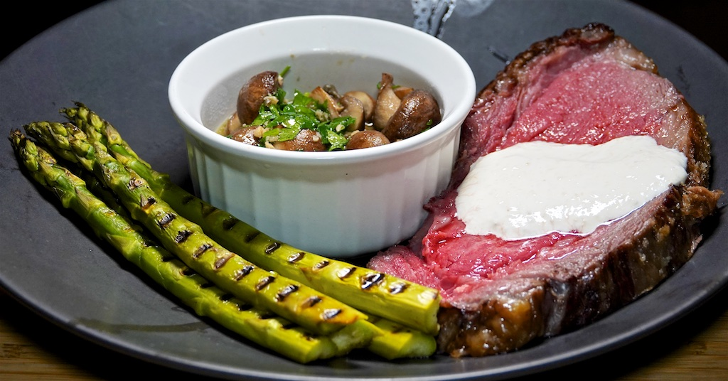 Dec 8: Ham, Eggs & Roast Potato; Prime Rib with Horseradish Cream, Asparagus and Garlic Mushrooms