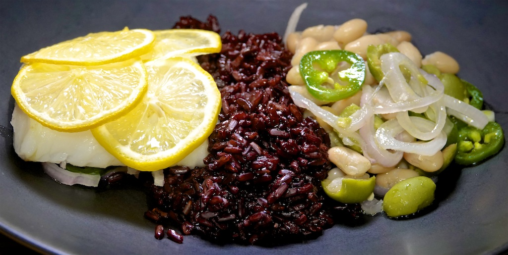 Jan 18: Avocado & Smoked Trout; Baked Cod with Beans and Olives and Black Rice