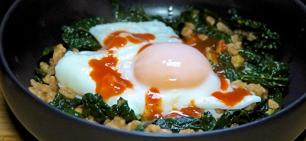 Jan 28: Turkey Breast, Apple & Swiss; Stir Fried Farro with Garlicky Kale and Poached Egg