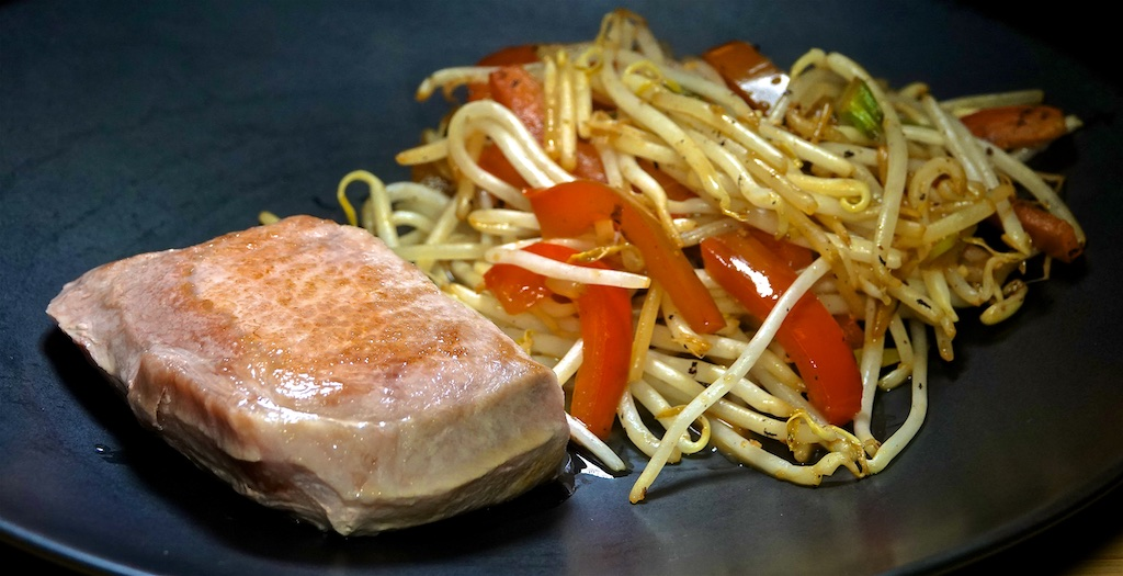 Feb 23: Tuna & Swiss, Turkey Breast & Swiss; Pork Chop with Stir Fried Peppers and Bean Sprouts