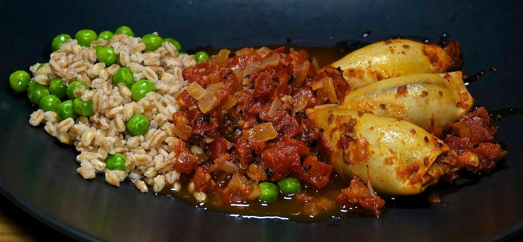 Mar 25: Avocado & Smoked Trout; Chorizo Stuffed Braised Squid