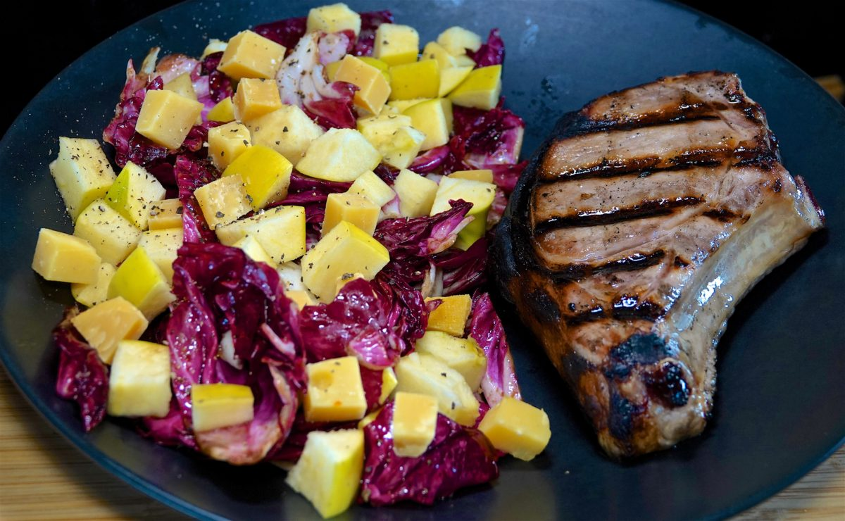 May 30: Yeros Meat & Cucumber Sandwiches; Grilled Bone-in Pork Chop with Radicchio, Apple, Gouda Salad