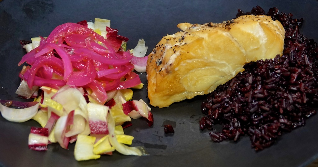Jun 7: Cheddar & Tomato Sandwich; Hot smoke Cod with Endive and Pickled Onion on Black Rice