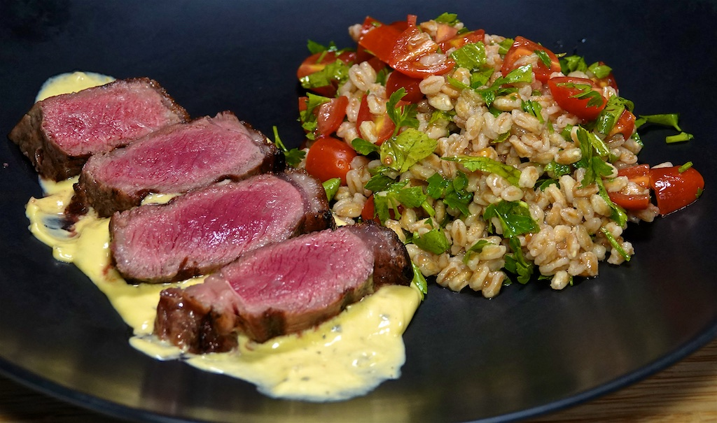 Jun 20: Eggs Benedict/Heuvos Rancheros; NY Strip Steak with Béarnaise Sauce and Farro Tabbouleh