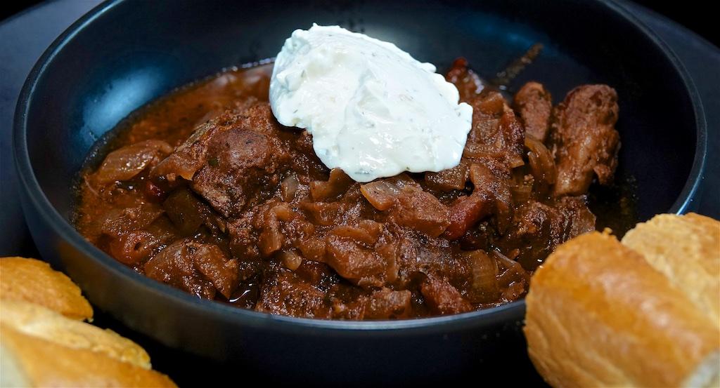 Jul 3: BBQ Chicken with Heirloom Tomato on Fresh Baguette; Greek Drunken Pork Stew