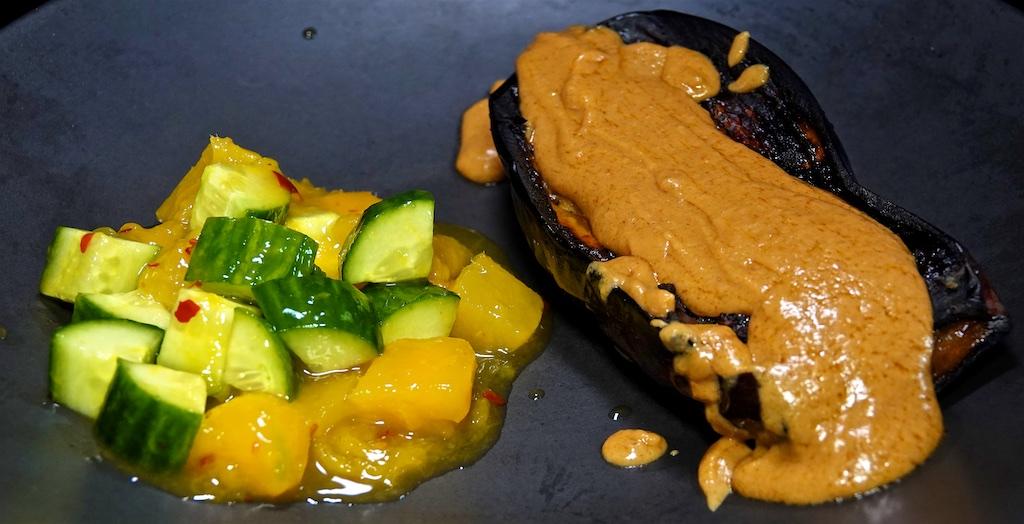 Jul 22: Cheddar & Kumato, Turkey, Swiss & Sun Dried Tomato; Grilled Eggplant, Peanut Satay Sauce and an Asia Cucumber Mango Salad