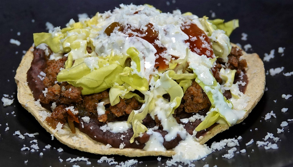 Aug 7: Cheddar & Apple,  Bacon, Lettuce, Tomato; Ground Beef Tostadas