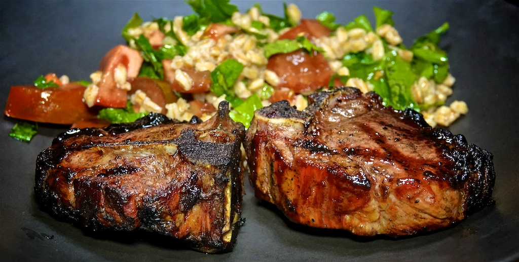 Oct 3: Chicken & Kumato Sandwiches; Grilled Lamb Loin Chops with Farrow Tabbouleh