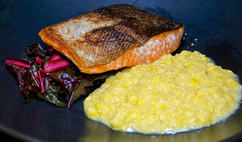 Oct 5: Egg Salad, Smoked Trout Sandwiches; Wild Caught Salmon, Garlicy Kale and Cream-less Creamed Corn