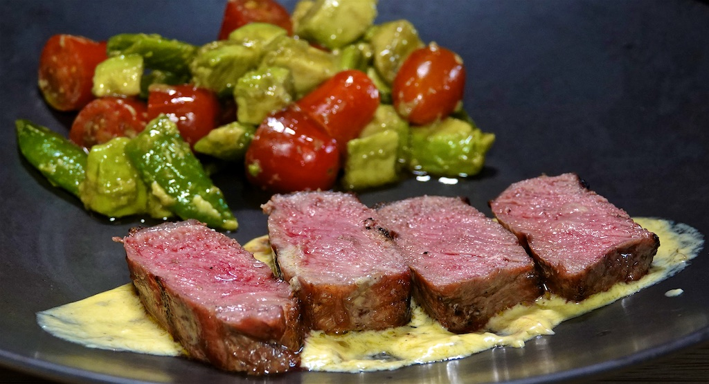 Oct 12: Roast Potatoes with Peppers Frittata; New York Strip Steak with Tomato, Peas and Avocado Salad
