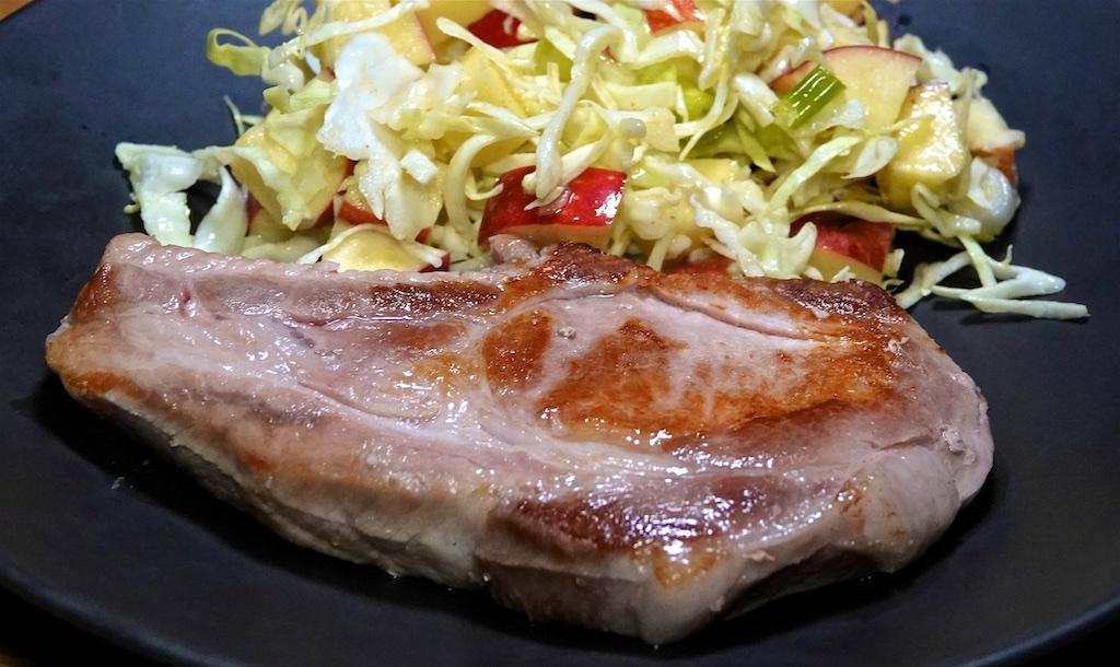 Oct 15: Tuna & Avocado, Egg Salad; Souse Vidė Pork Chops with Apple Bacon Slaw