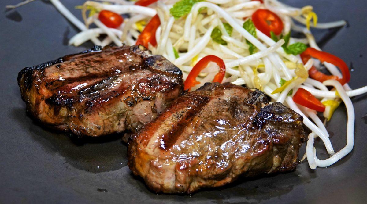 Nov 17: Heuvos Rancheros; Lamb Loin Chops with Mung Bean Salad