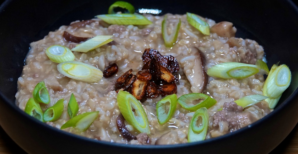 Dec 18: Tuna & Swiss, Kumato & Cheddar; Brown Rice Congee with Shiitake, Ground Beef and Garlic Chips