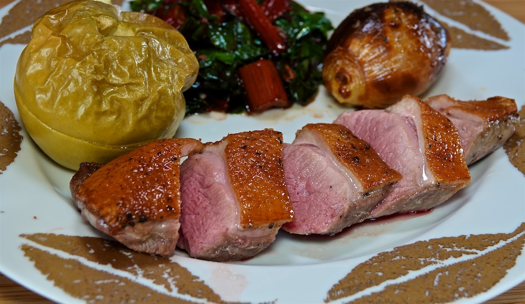 Dec 25: Duck Breast, Roast Apple and Shallot with Wilted Swiss Chard; Stilton, Duck Pate, Stilton, Brie and other deliciousness