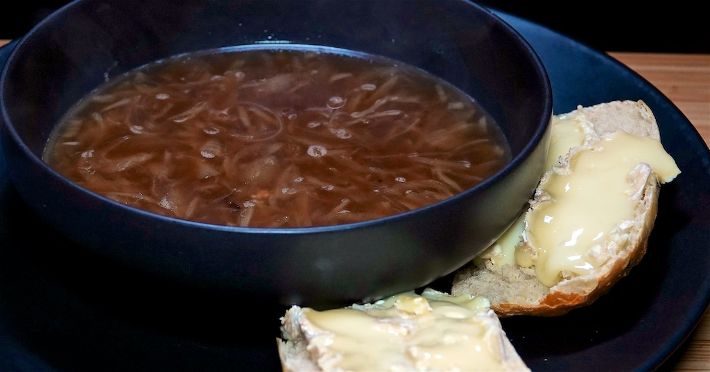 Dec 26: Heuvos Rancheros; French Onion Soup with French Brie on a Hot Panini Roll