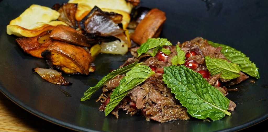 Dec 31: The Country Deli; Warm Shredded Lamb Salad with Mint, Pomegranate and Halloumi Bake