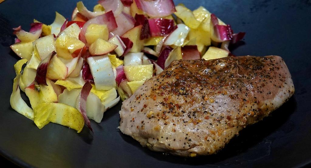 Feb 23: Frittata; Sous Vidé Pork Loin Chops with Apple Endive Salad