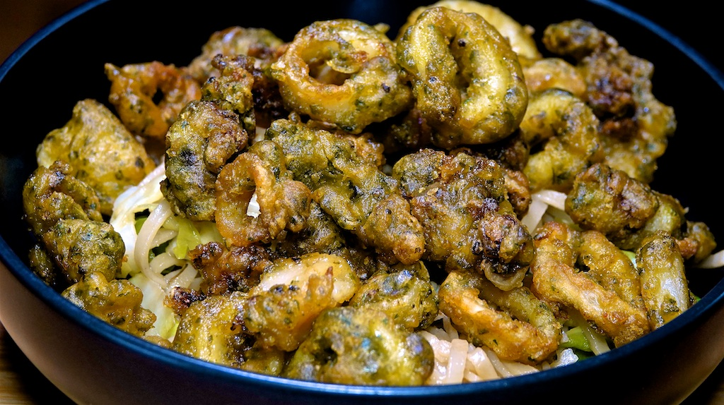 Mar 20: Heuvos Rancheros; Salt & Pepper Calamari with Stir-fry Noodles & Cabbage