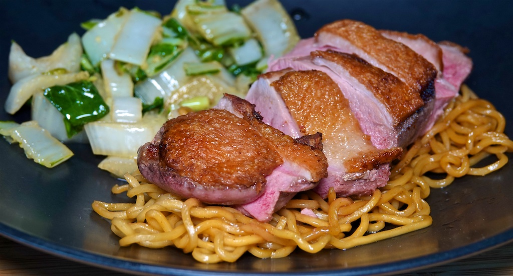 May 17: Ham, Camembert & Chives; Duck Breast with Garlic Bok Choy and Yakisoba Noodles